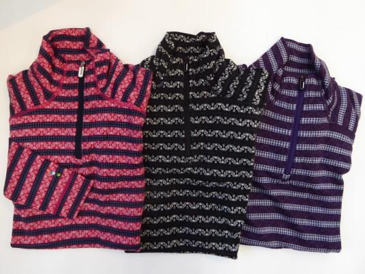 柄物のパターンジップ。左から、ポーションピンク/ディープネイビー・ブラック/チャコール・マウンテンパープル/ブルーアイス