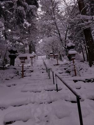 正面道は雪
